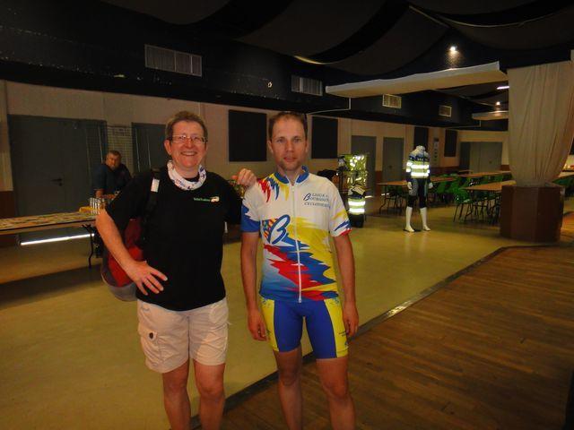 Yann, de Vélotrainer, a fait les 230 km dans la journée. J'ai été bien contente de le revoir.