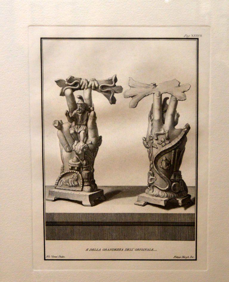 La représentation des trésors découverts lors des fouilles à Pompei (première moitié du 18ème siècle)