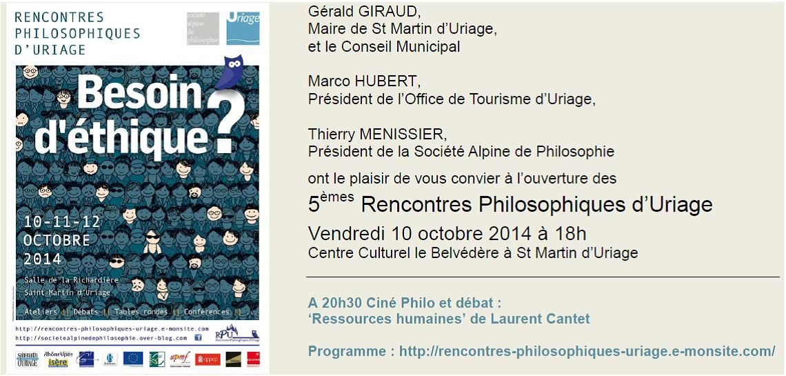 Rencontres Philosophiques d'Uriage - Besoin d'éthique ? Soirée d'inauguration