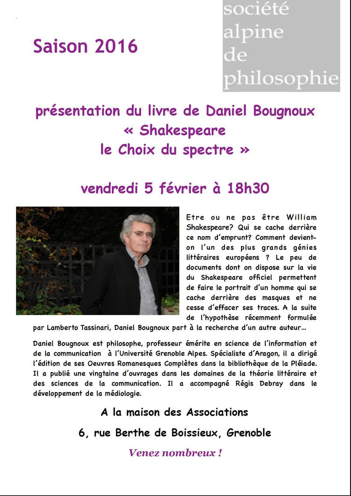 Présentation du livre de Daniel Bougnoux « Shakespeare le Choix du spectre »