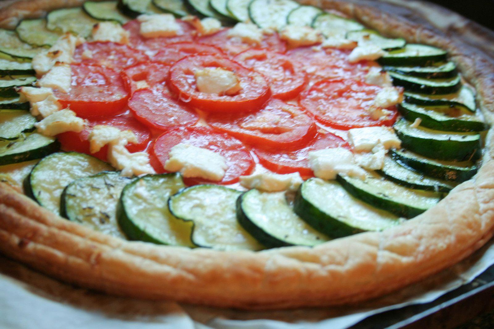 Tarte fine tomates courgettes