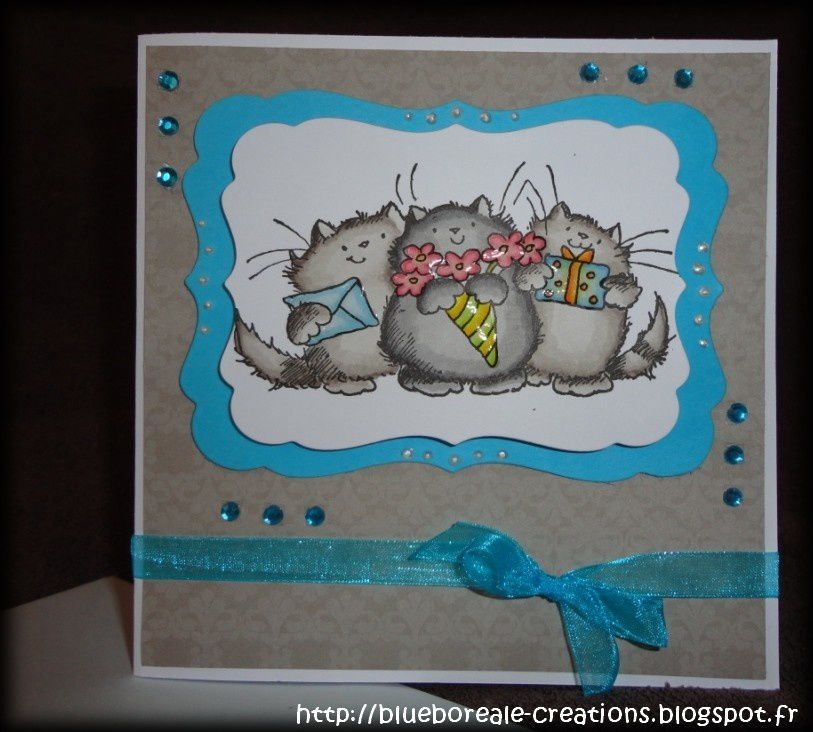 Carte Penny Black &quot&#x3B;3 petits chats&quot&#x3B;