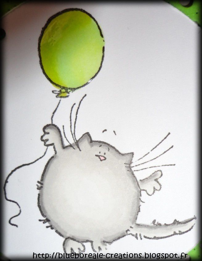 Carte &quot&#x3B;Chat au ballon&quot&#x3B;