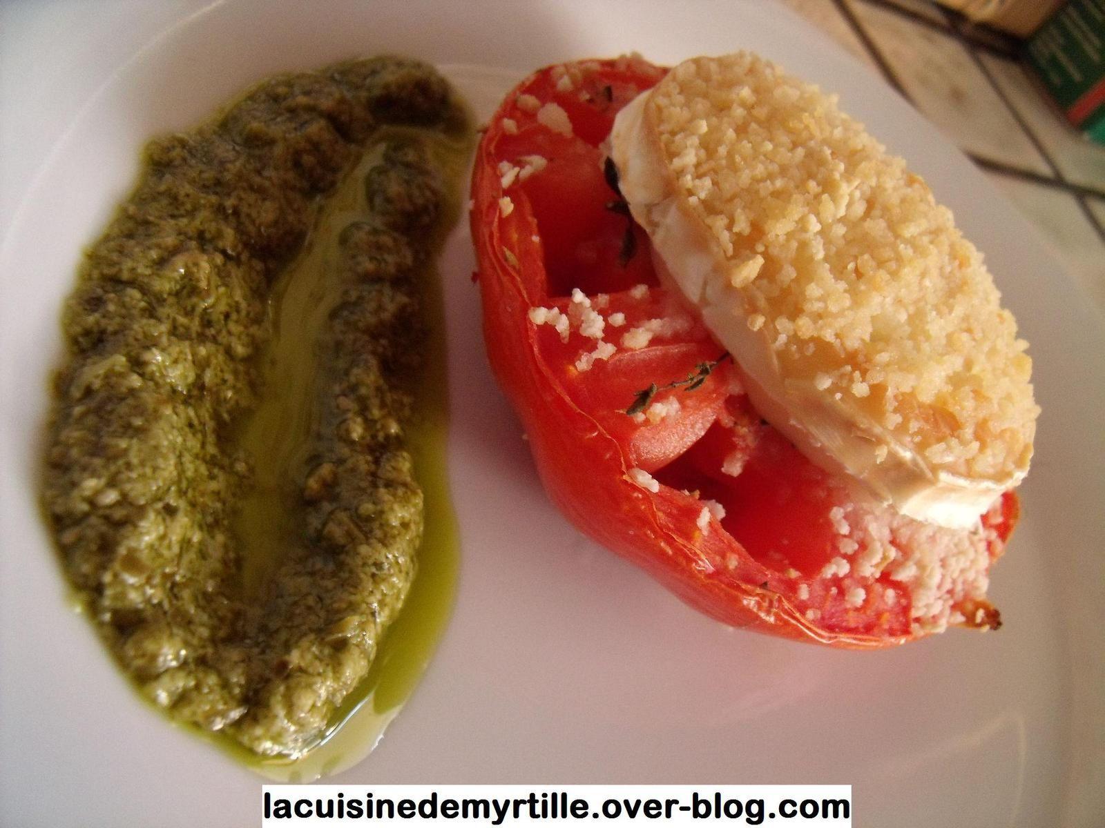 steack de tomates coeur de boeuf au fromage de chèvre
