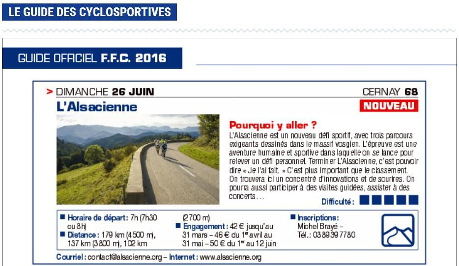 2016: L'Alsacienne, cyclosportive FFC