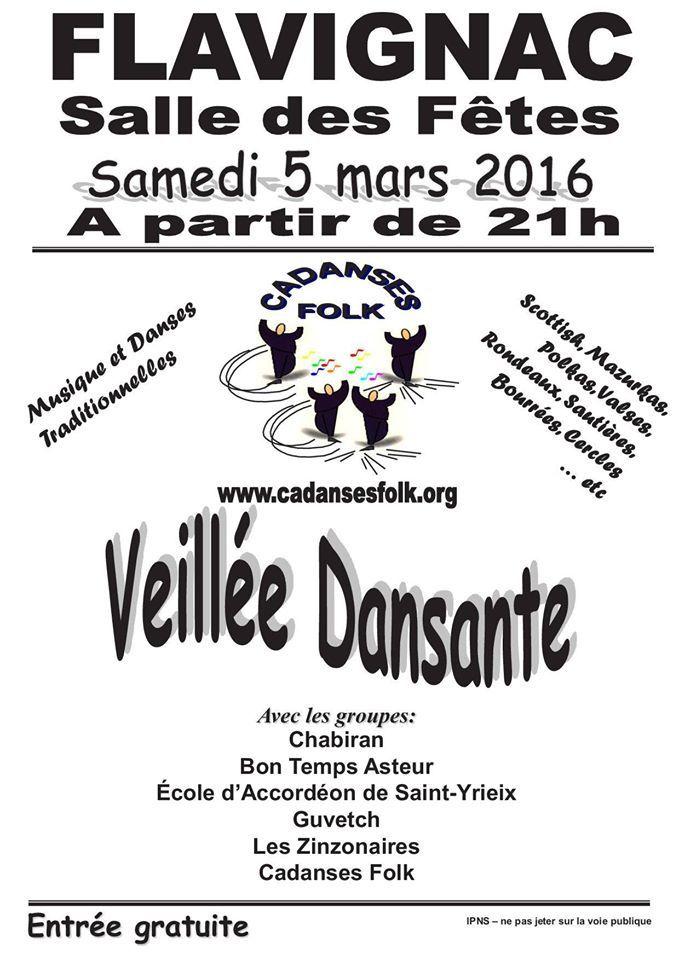 Flavignac (87230), Haute-Vienne BAL FOLK le 5 mars 2016