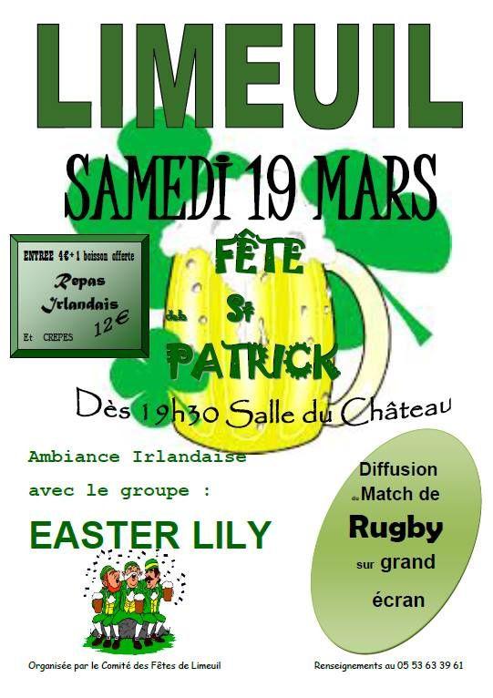 Limeuil 24 Saint-Patrick avec Easter Lily le samedi 19 mars 2016