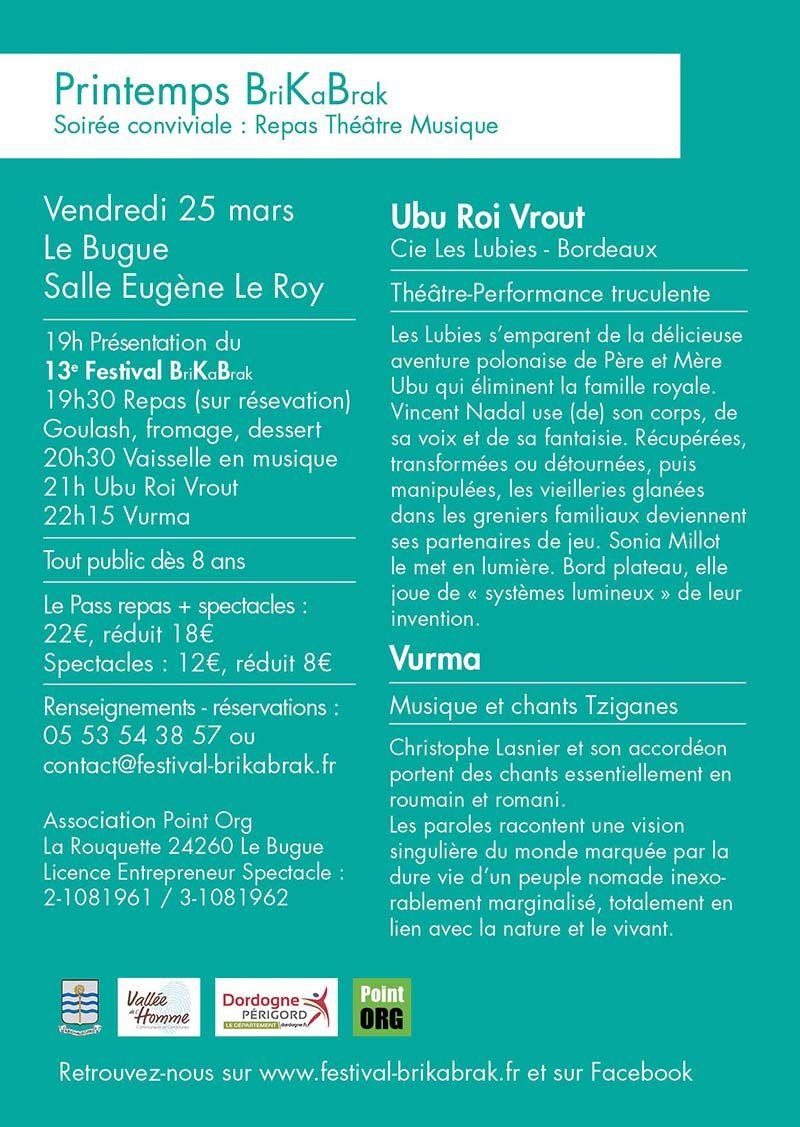 LE BUGUE le 25/03/2016  spectacles BRIKABRAK
