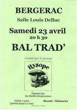 Bergerac BAL FOLK avec hysope le 23 avril 2016