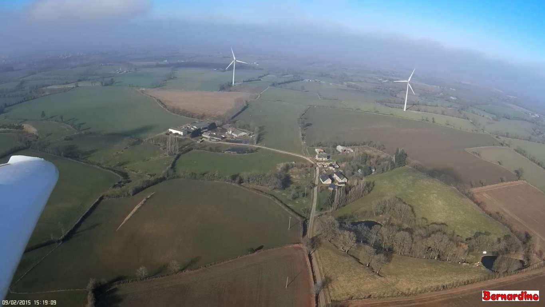 Les éoliennes de Trans vues du ciel