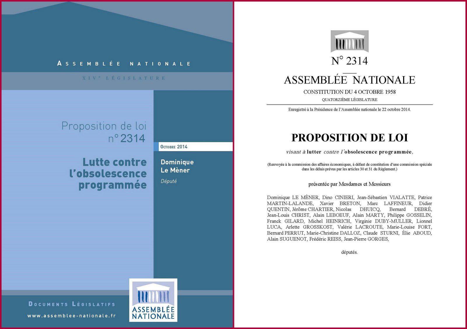 ASSEMBLEE NATIONALE : Je viens de déposer une proposition de loi visant à lutter contre l'obsolescence programmée