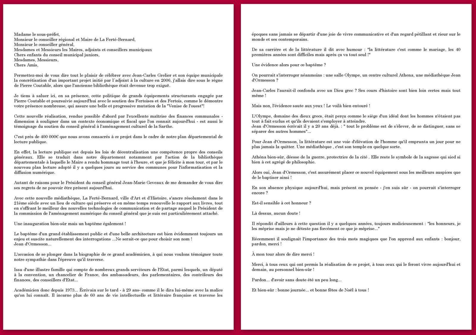 LA FERTE BERNARD : Inauguration de la médiathèque &quot&#x3B;Jean d'Ormesson&quot&#x3B;
