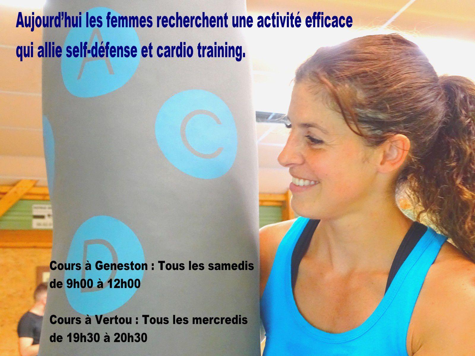 Aujourd'hui les femmes recherchent une activité efficace qui allie self-défense et cardio training. L'école du Samouraï propose un cours basé sur le cardio avec des exercices adaptés pour tous, tous les samedis matin de 9h00 à 10h00 pour les confirmées, de 10h00 à 11h00 pour les débutantes et de 11h00 à 12h00 pour les adolescentes (GENESTON) / Tous les mercredis de 19h30 à 20h30 (VERTOU) Étude sur la meilleure façon de se défendre tout en pratiquant de la boxe, du karaté et du judo.   Etre motivée c'est venir nous rencontrer et essayer un de nos cours sans engagement. Pour toutes demandes complémentaires sur les cours, les essais ou les inscriptions, merci d'adresser un email à clubdekarate44@gmail.com en précisant le cours et l'école de karaté, le nom et prénom, l'âge et le motif de la demande afin de répondre au plus vite à votre demande. Les cours sont préparés par un coach diplômé d'état.