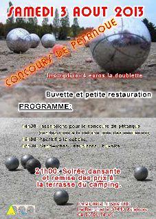 Camping du Viaduc : Concours de pétanque / Soirée dansante - Samedi 3 août 2013