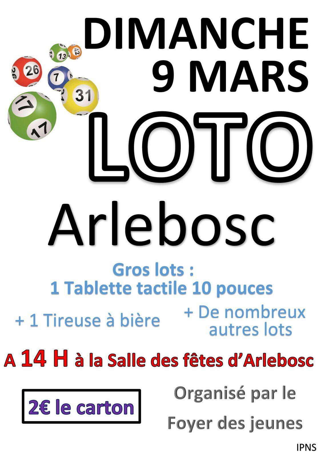 Loto du Foyer des Jeunes : dimanche 9 mars 2014