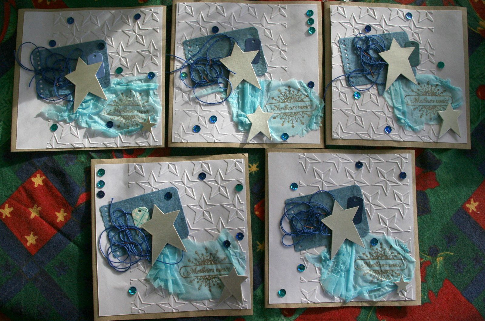 cartes de voeux en bleu