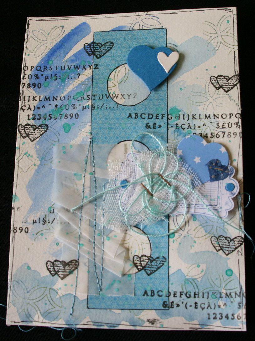 4 cartes bleues aquarelle