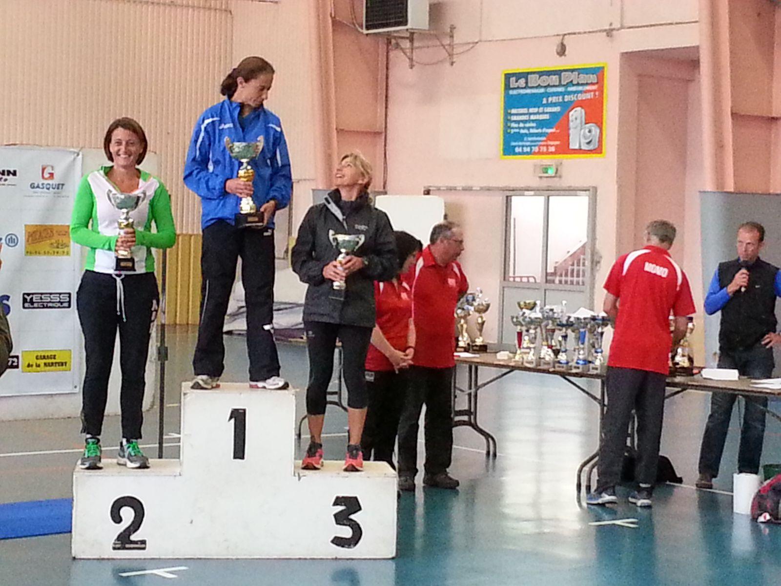 Podium V1F : 2- Carole GUERIN 47'14    3- Marie-Claude DESLANDES 47'16