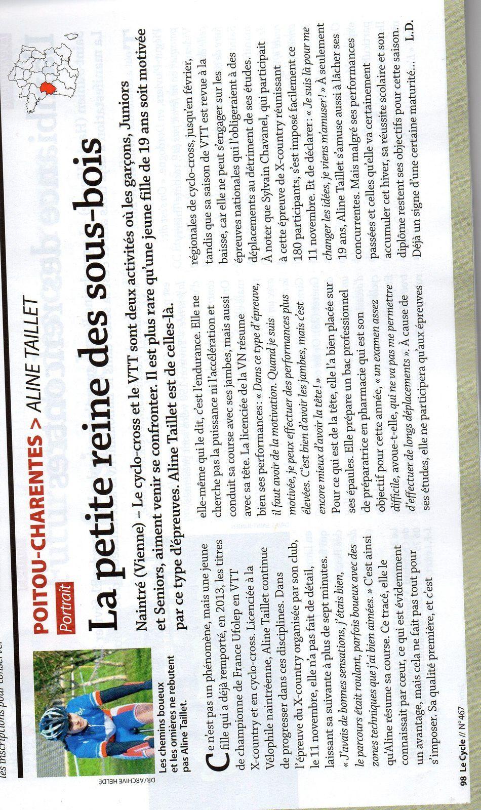 """ARTICLE SUR LE MAGAZINE LE CYCLE  / TAILLET ALINE """" LA PETITE REINE DES SOUS BOIS """""""