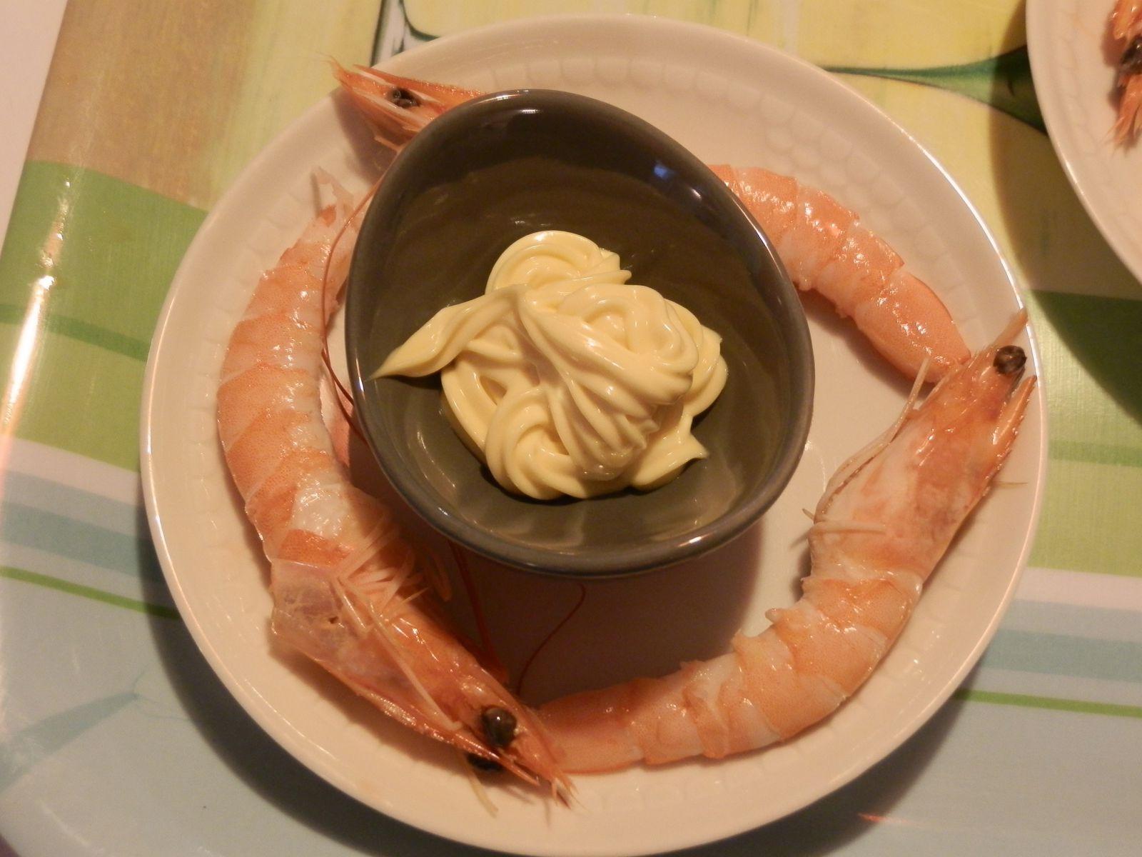 Et là tout simple une petite assiette de crevettes avec sa mayo