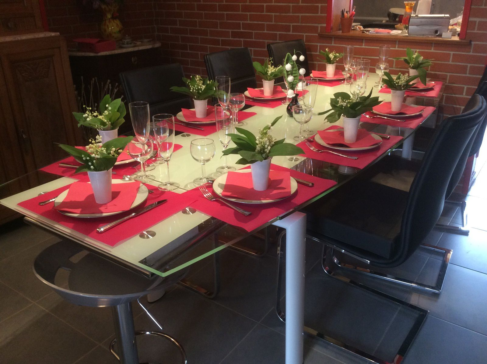 Deco de table &quot&#x3B;muguet&quot&#x3B;