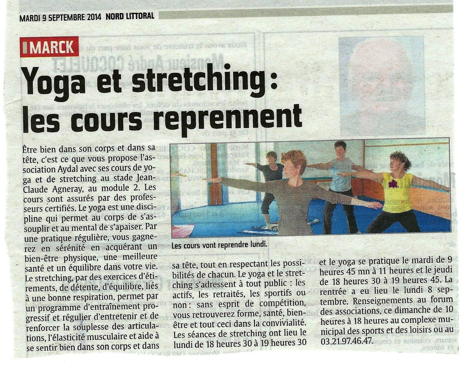 Yoga et Stretching à Marck (article de Nord Littoral)