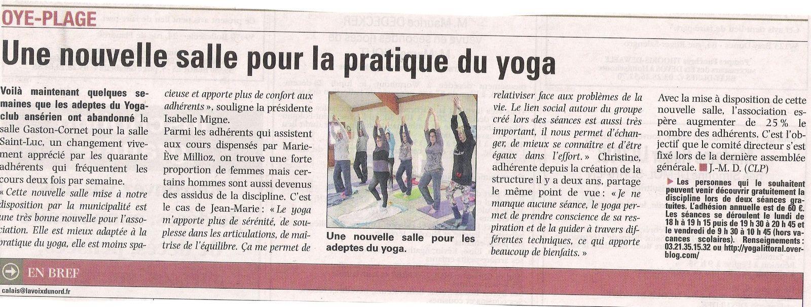Une nouvelle salle de yoga à Oye-Plage