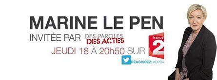 A ne pas manquer : jeudi 18 septembre, Marine LE PEN sur France 2
