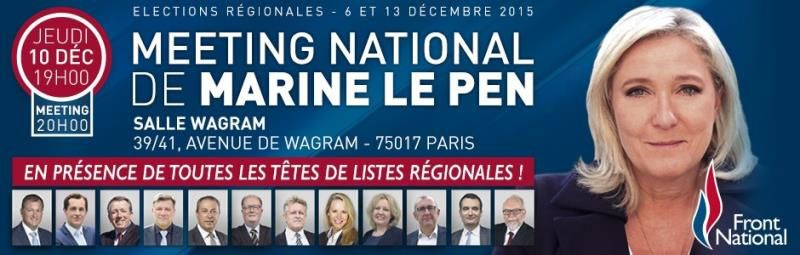 Meeting national de Marine LE PEN jeudi 10 décembre, 19 h, à Paris