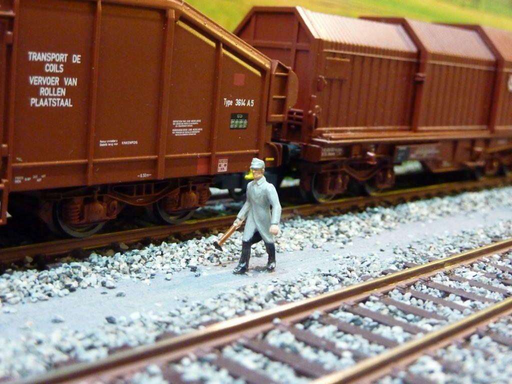 Avant le départ le visiteur fait l'inspection obligatoire du train.
