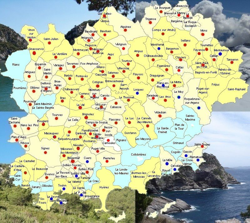 Carte des communes varoises ayant pris arrêtés municipaux ou délibérations vs gaz de schiste.
