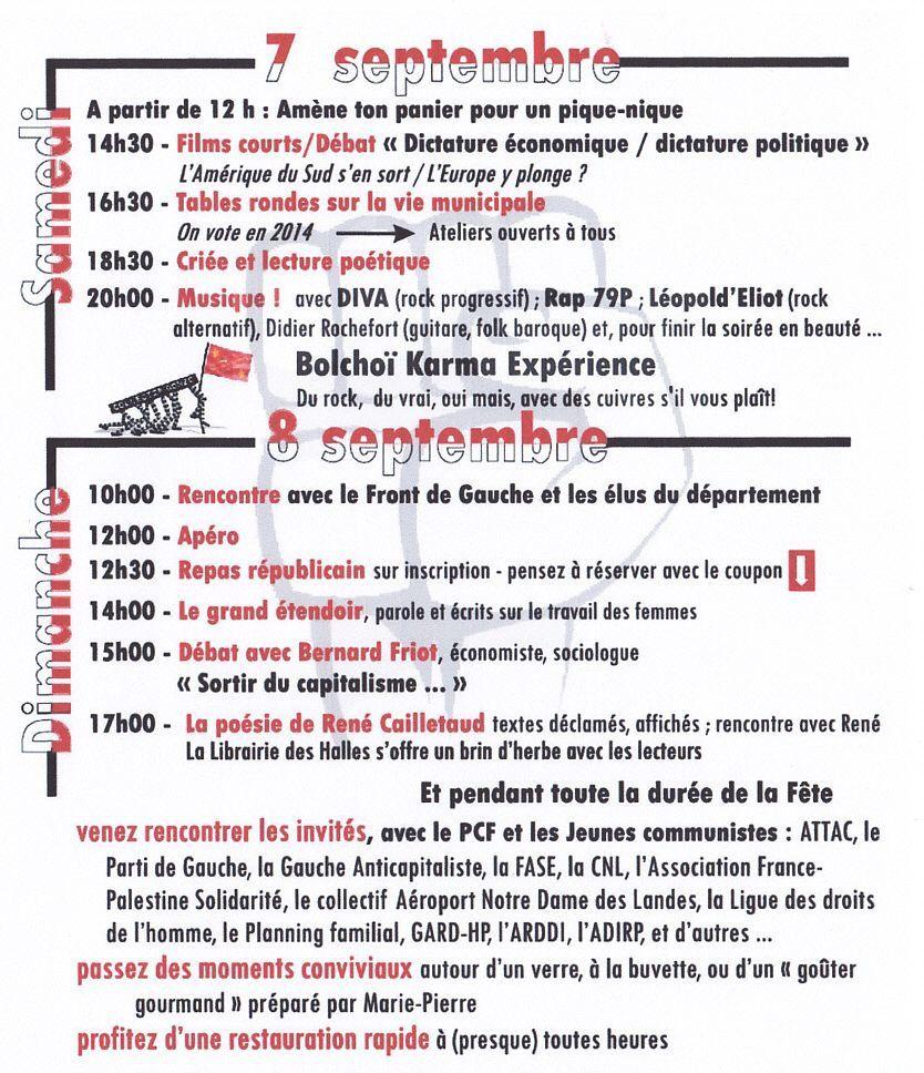 Programme fête de rentrée du PCF à Niort (Deux-Sèvres) des Samedi 7 et dimanche 8 septembre 2013