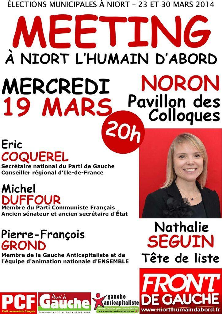 Elections municipales, liste Front de Gauche à Niort, meeting le mercredi 19 mars