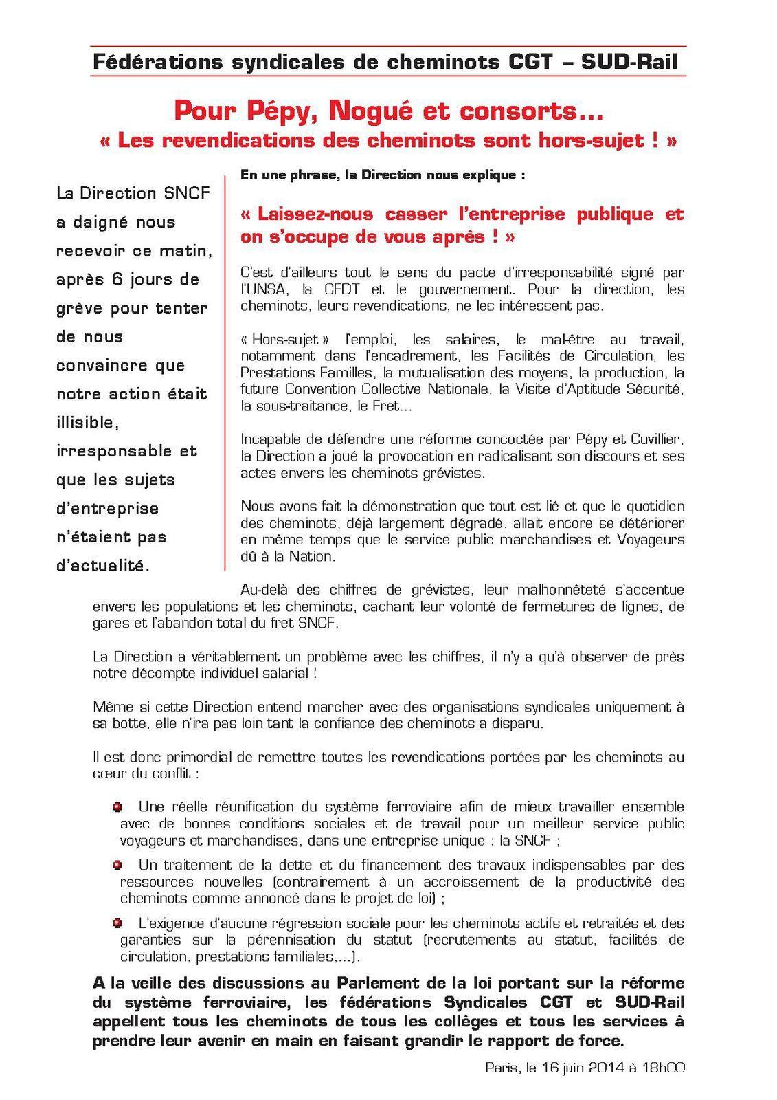 Cheminots, tract interfédéral CGT-Sud Rail du 16 juin