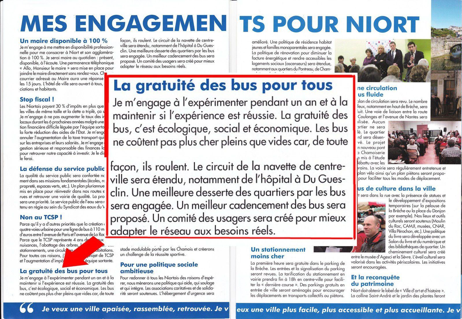Transports gratuits à cause de la pollution … mais pas à Niort. Où sont passés les engagements du candidat Baloge ?
