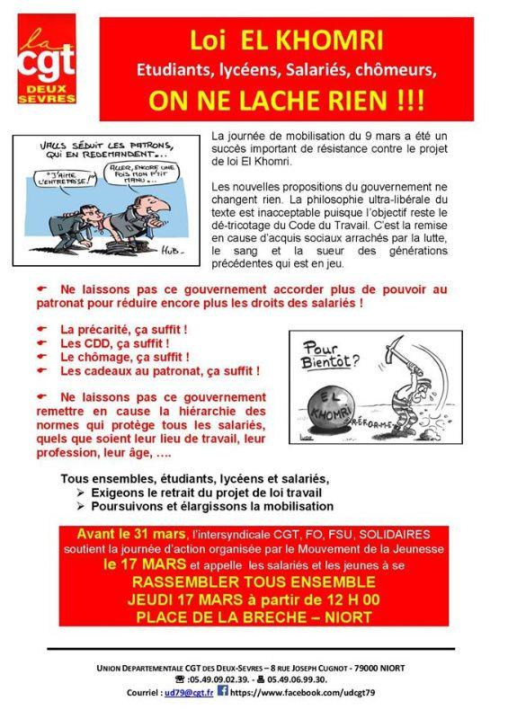 Rassemblements en Deux-Sèvres le 17 mars contre le projet de loi El Khomri