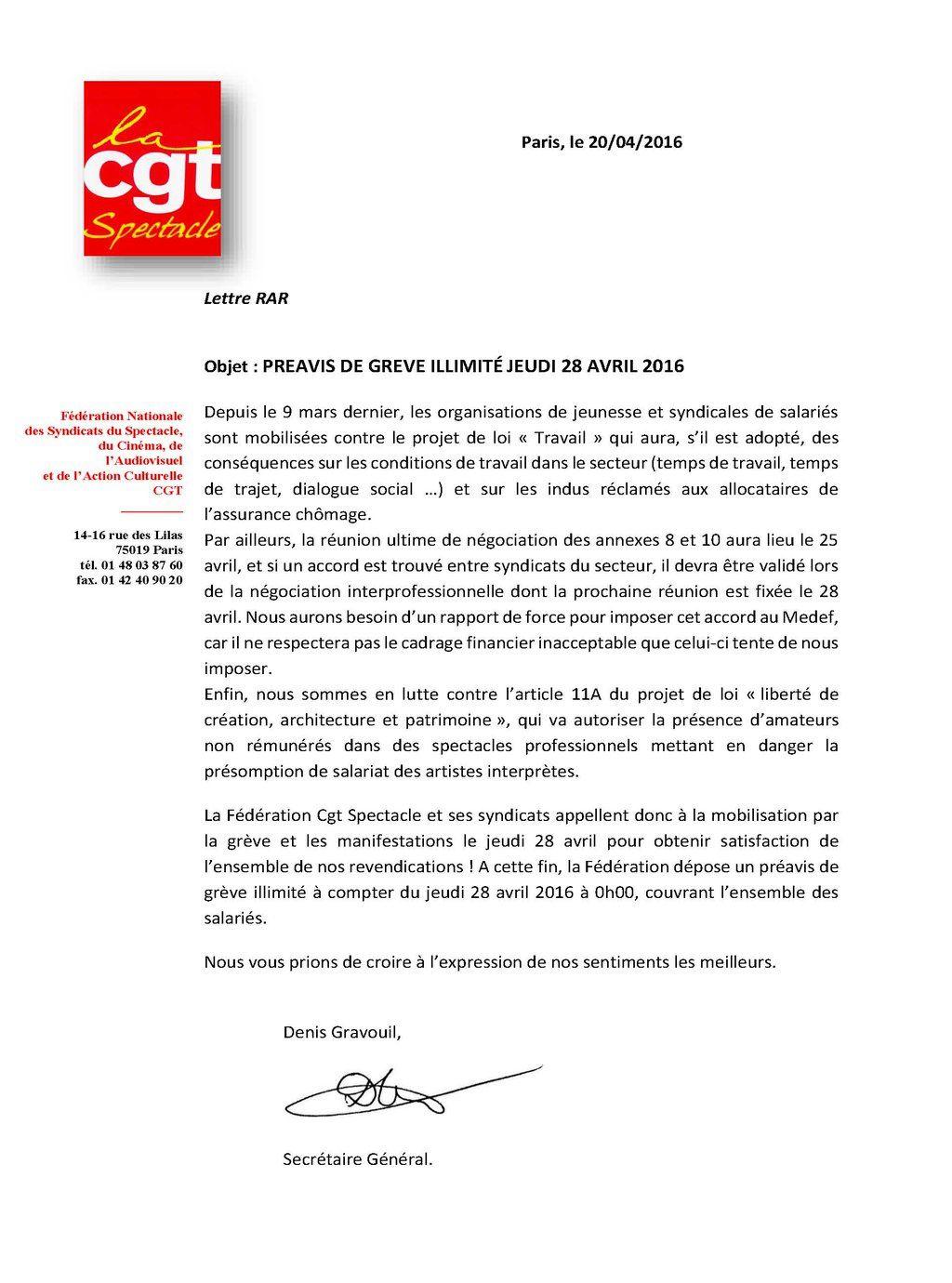 Préavis de grève illimité jeudi 28 avril 2016 ...