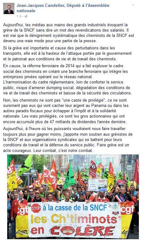 Soutien du député communiste JJ Candelier aux grévistes de la SNCF