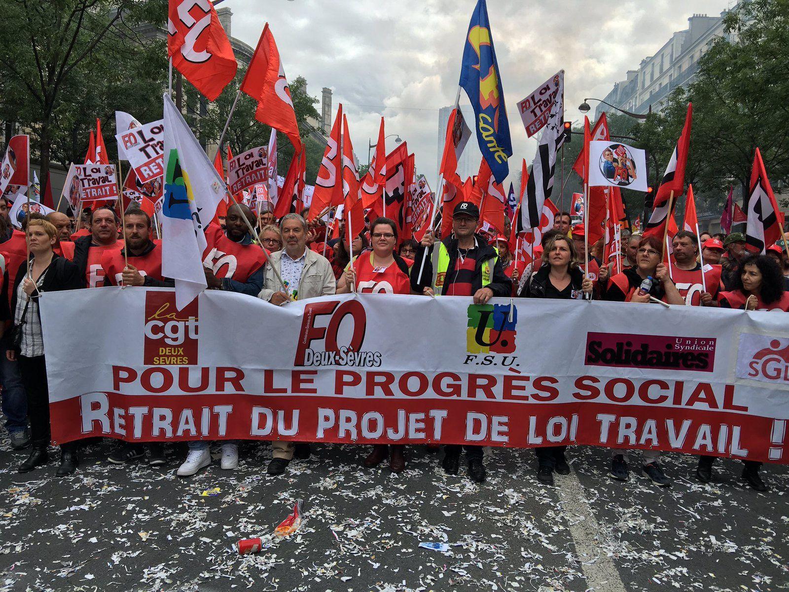 Les manifestants deux-sévriens dans la manifestation