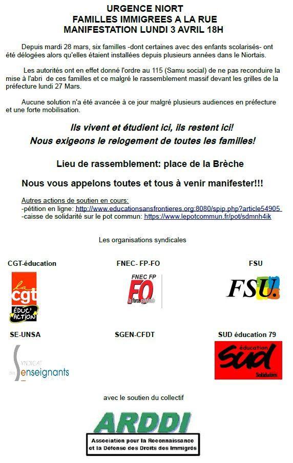 URGENCE à Niort - Familles immigrées à la rue, manifestation lundi 3 avril à 18 heures Place de la Brèche