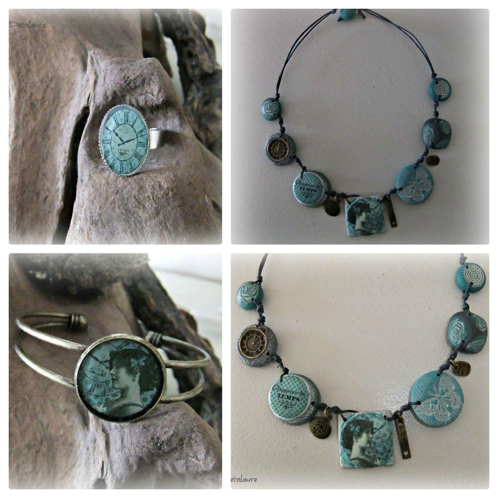 &quot&#x3B;Collier style vintage bleu-vert...&quot&#x3B;