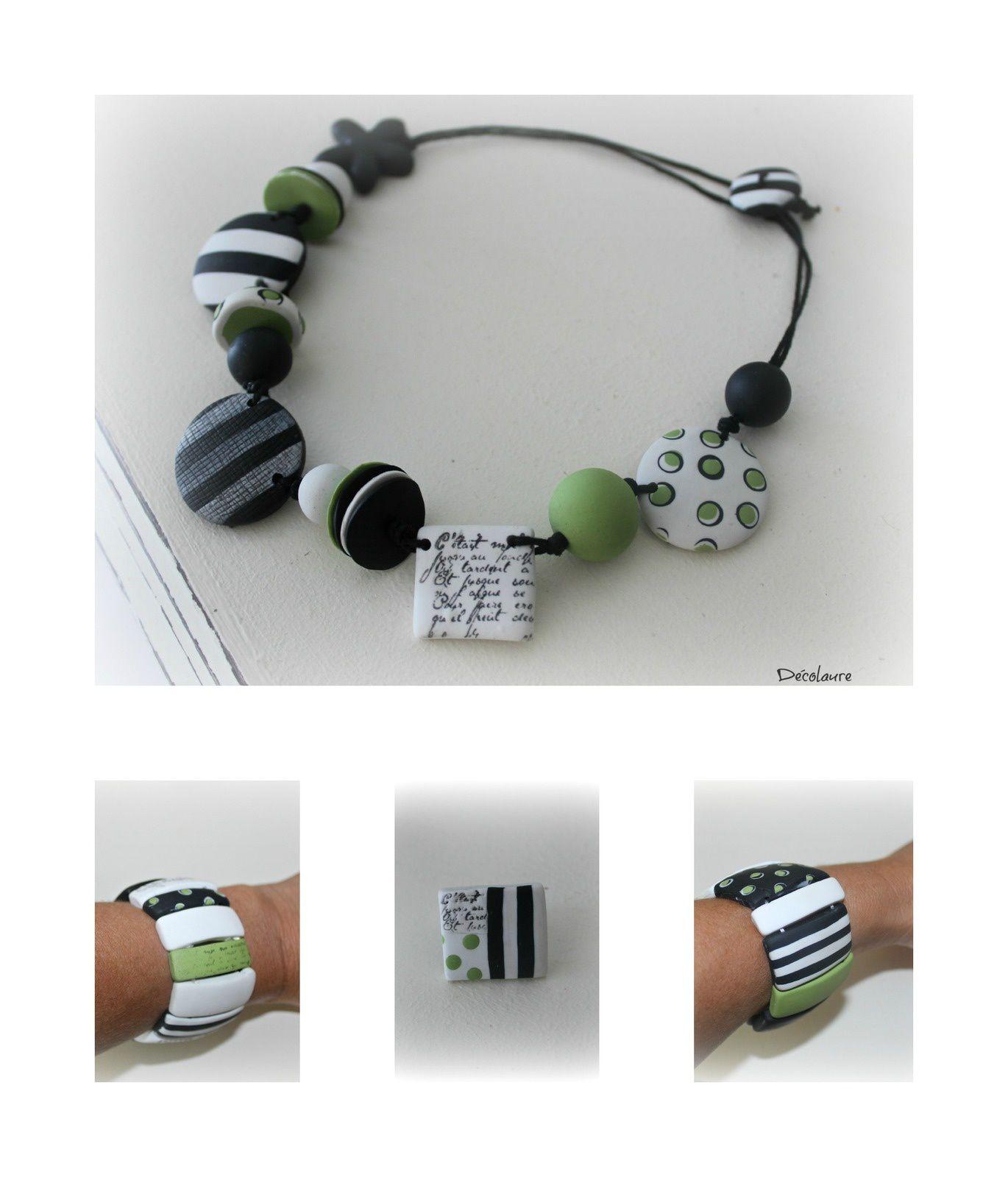 &quot&#x3B;Parure  en  fimo , vert pomme  , noire et blanche ...&quot&#x3B;