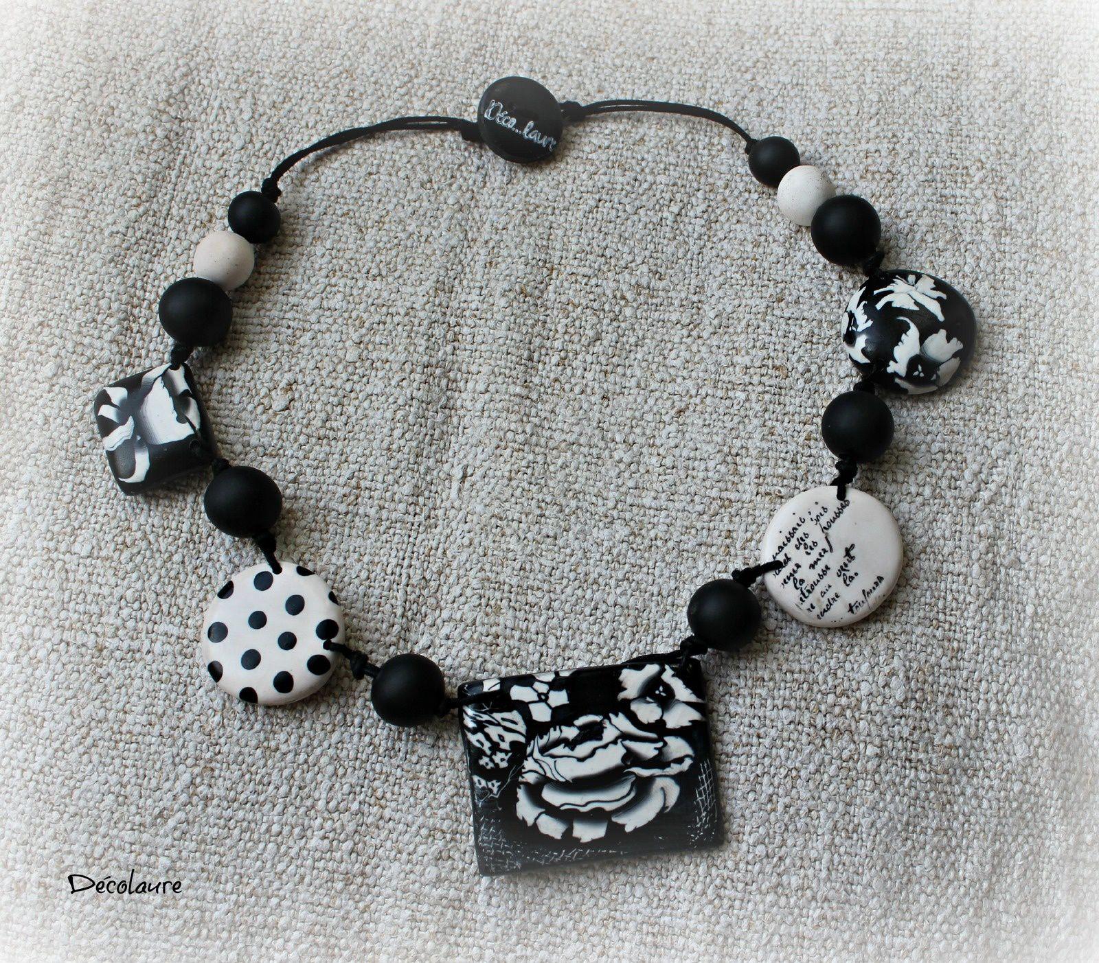&quot&#x3B;Collier fantaisie fimo , noir et blanc et  multicolore...&quot&#x3B;