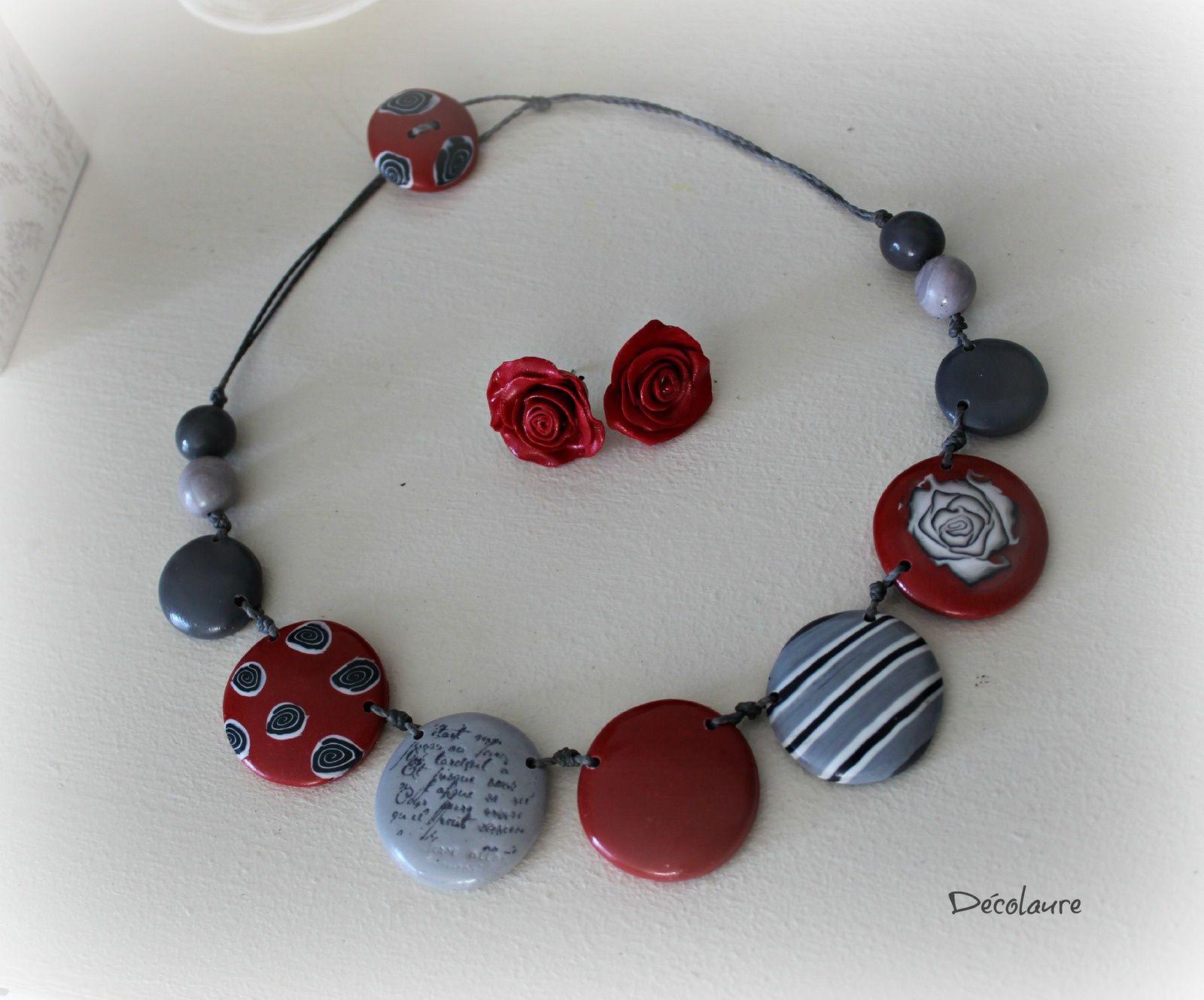 &quot&#x3B;Collier  rouge  et  gris  , style romantique...&quot&#x3B;