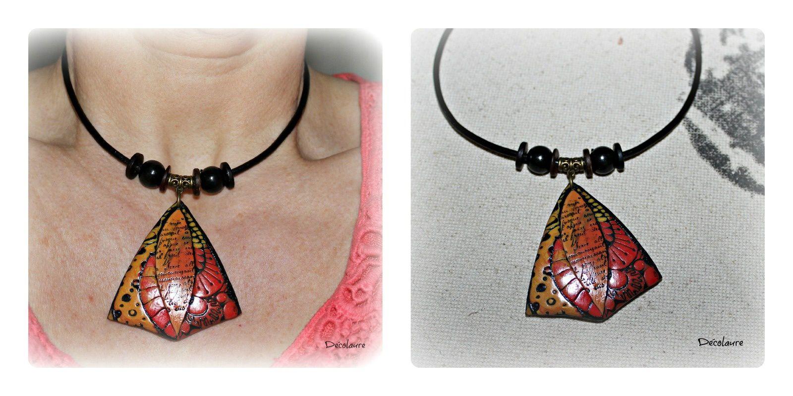 Bague  en  verre  avec perles de rocailles et fimo  à l 'intérieur , pour ma fille , et collier pendentif style ethnique , déjà réservé ...