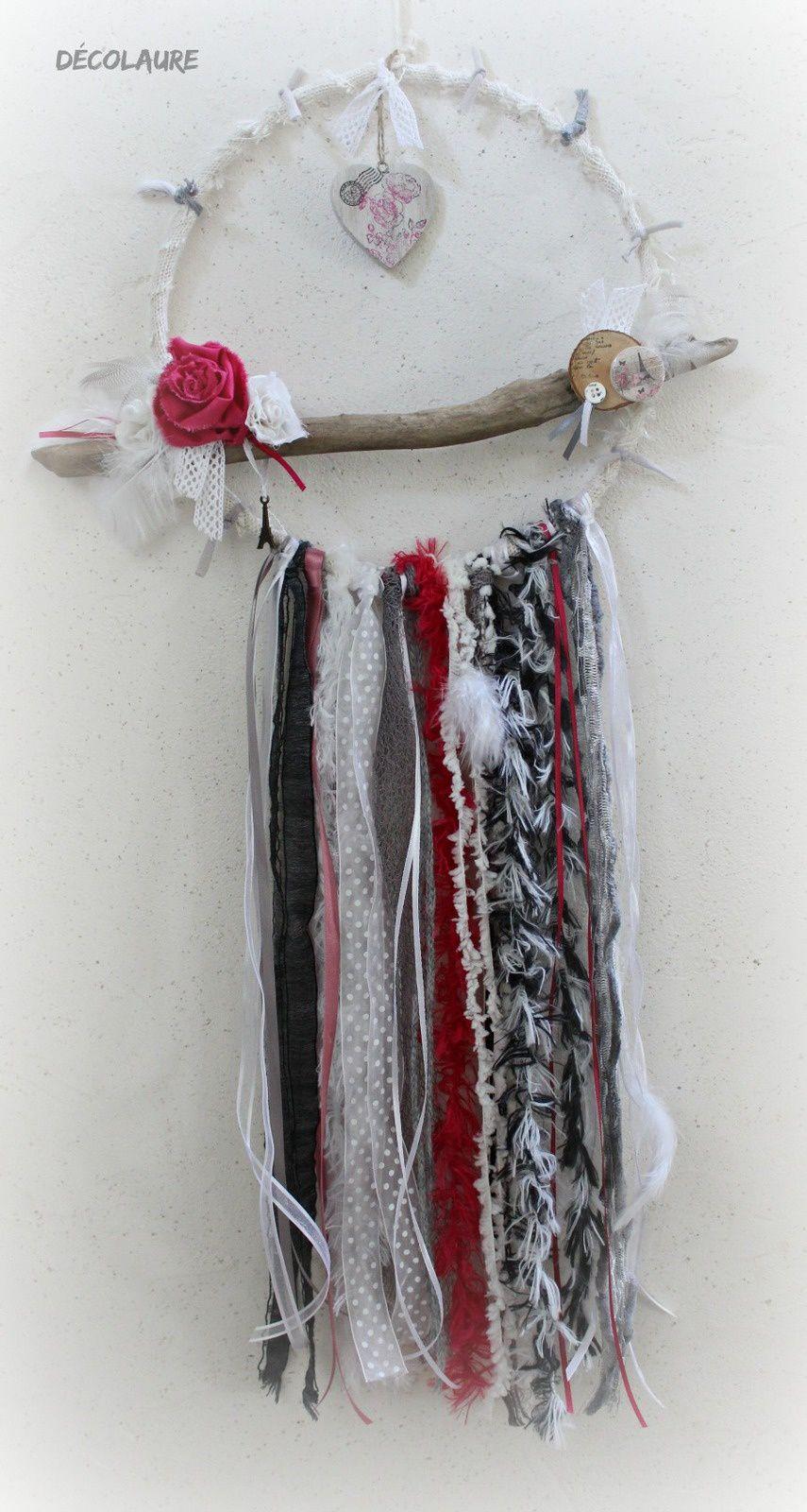 Dreamcatcher  style shabby rose , blanc et gris ...