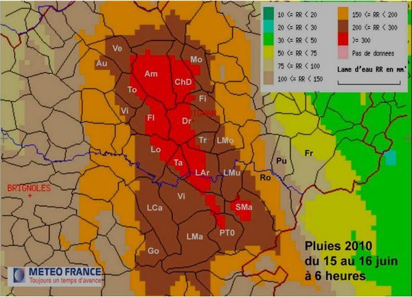 Rappelons qu'il est tombé 460 mm à Lorgues, dans la zone de la Florieye !