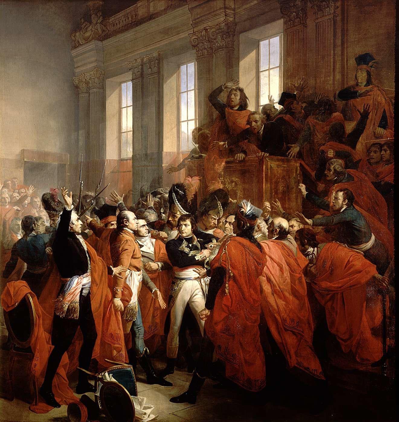 François Bouchot,   Le général Bonaparte au Conseil des Cinq-Cents, à Saint Cloud. 10 novembre 1799 (1840)