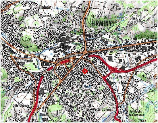 Document 1. Carte IGN de Firminy, site  Géoportail, consulté le 31 août 2011