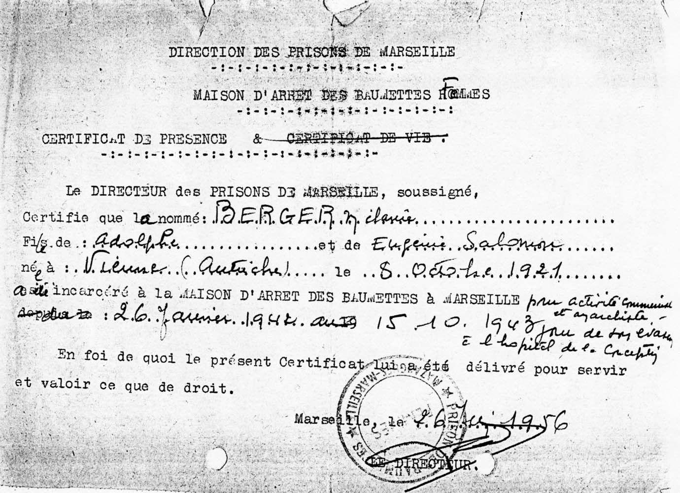 Certificat de présence émis par la prison des Baumettes le 26 juin 1956 concernant Mélanie Berger ( © Collection Mélanie Volle-Berger Droits réservés)